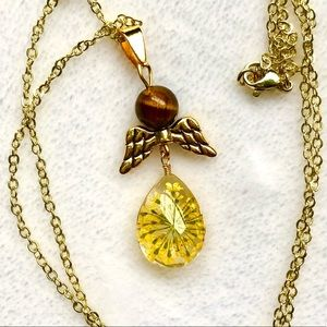 Tigers Eye Dried Flower 10k Gold Necklace …